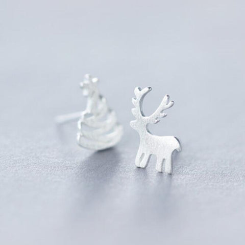 Christmas Tree Deer Stud Earrings