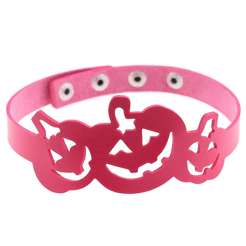 Trendy Leather Hollow Three Pumpkin lantern Choker Necklace