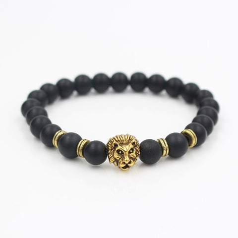 Natural Marble Stone Lion Head Elastic Bead Bracelet