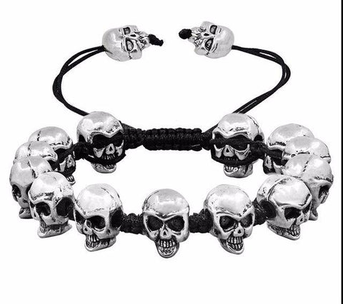 Smile Skull Skeleton Antique Silver Plated Handmade Rope Bracelets