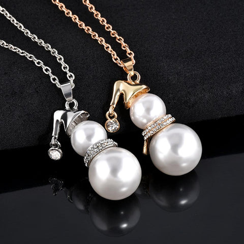 Cute Snowman Simulated Pearl Pendant Long Necklace