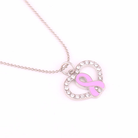 **Free Shipping** <br>Pink Ribbon Heart Necklace