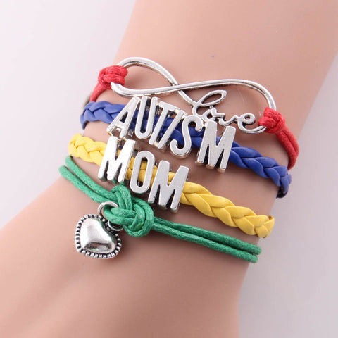 AUTISM Awareness Heart Charming leather Bracelet Bangles