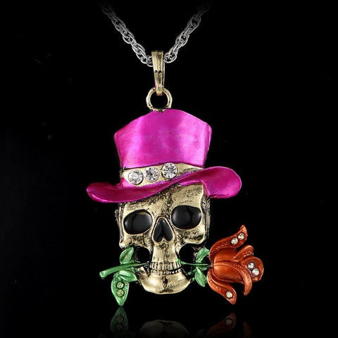 Vintage Skeleton Skull Flower Necklace