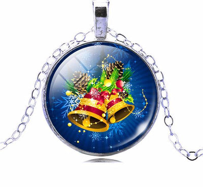 Glass Cabochon Santa Claus Statement Chain Anime Necklace