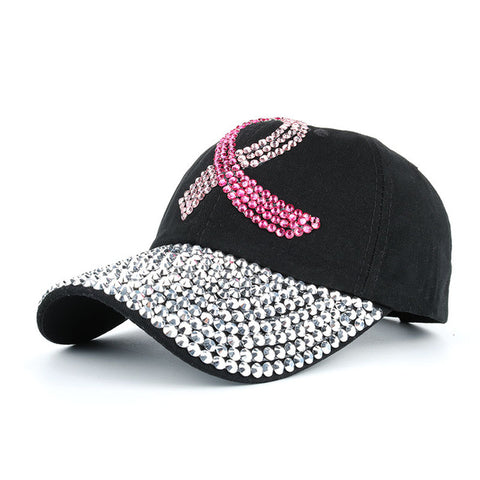 Handmade Cancer Awareness Pink Ribbon Rhinestone Hat