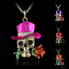 Image of Vintage Skeleton Skull Flower Necklace