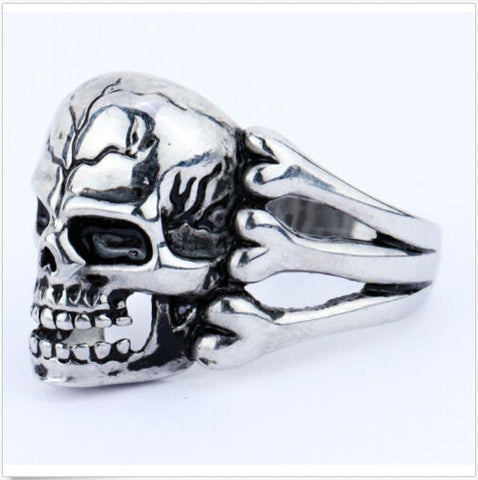 Trendy Gothic Skull Flower Biker Zinc alloy Ring