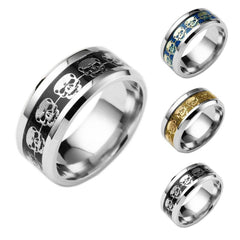 Never Fade Stainless Steel Blue Black Skeleton Pattern Skull Ring