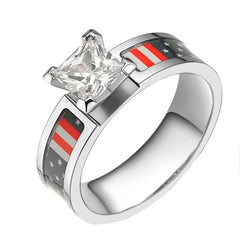 American Flag Titanium Ring