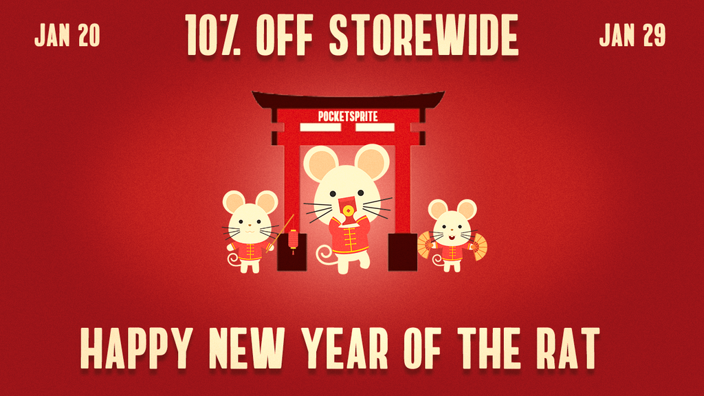 Celebrate the year of the Rat with Pocketsprite with a massive 10% OFF storewide