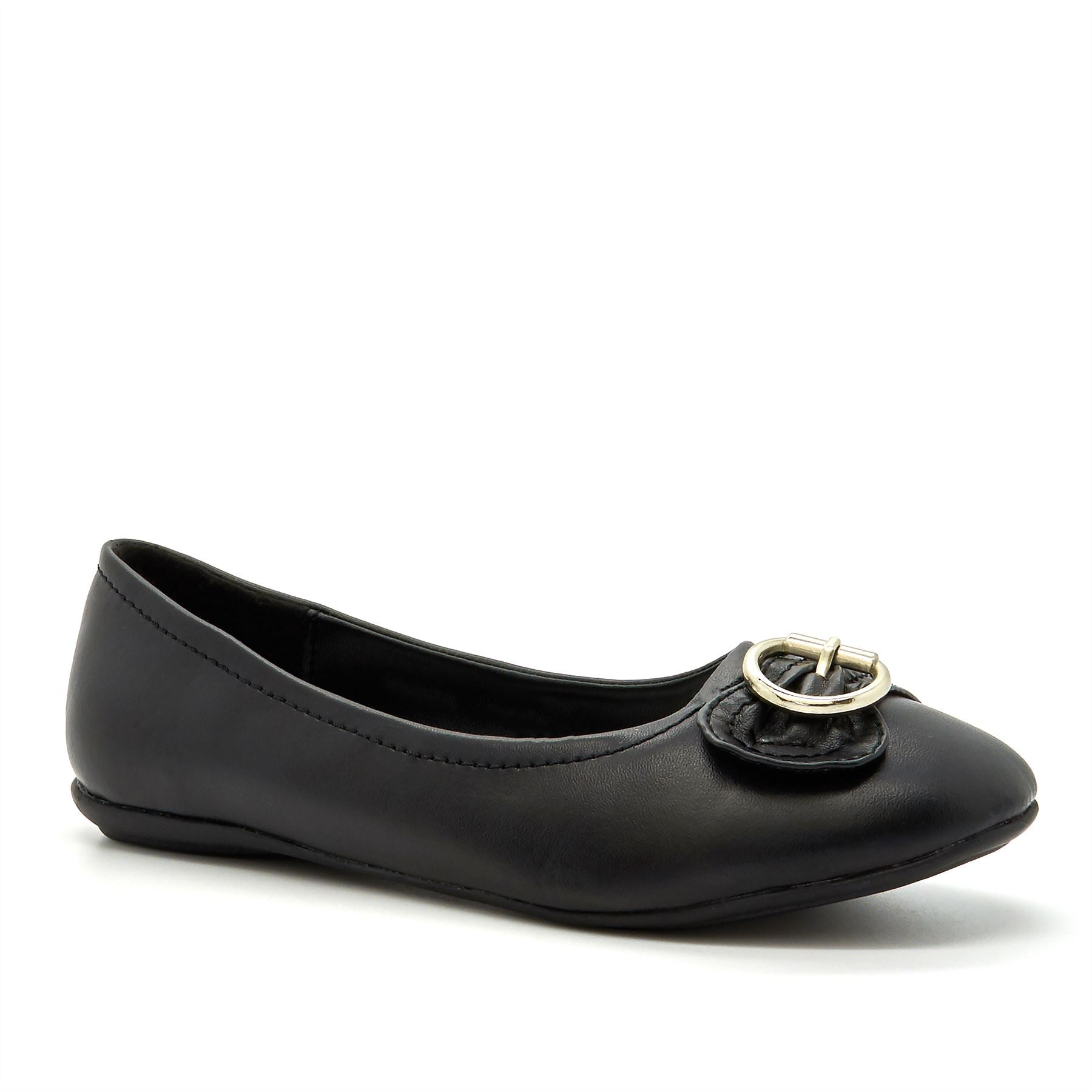 Black Buckle Detail Ballet Flats