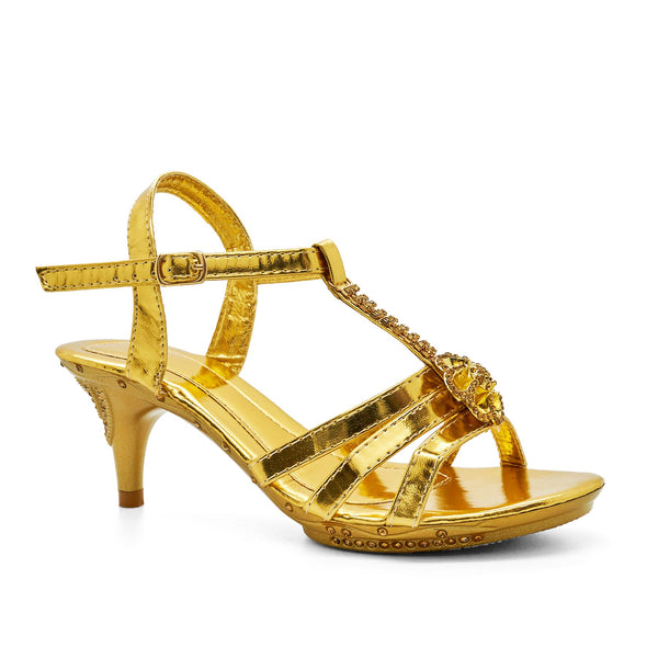 Gold Diamante T-Bar Heeled Sandal