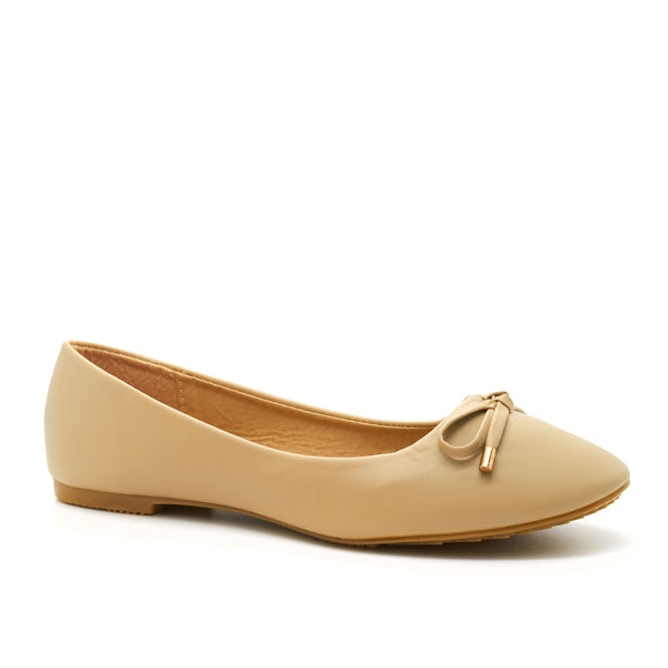 Apricot Bow Detail Ballet Flats