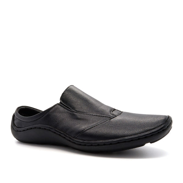 Black Leather Look Slip On Shoes
