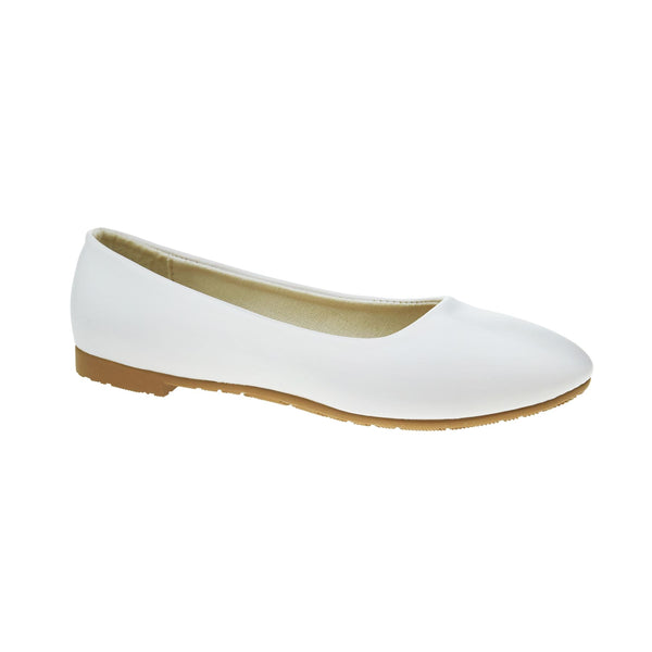 White Faux Leather Ballet Flats