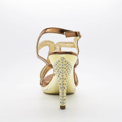 Bronze Diamante Strap High Heel