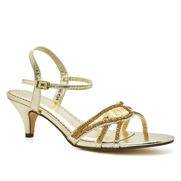 Gold Diamante Kitten Heeled Sandals