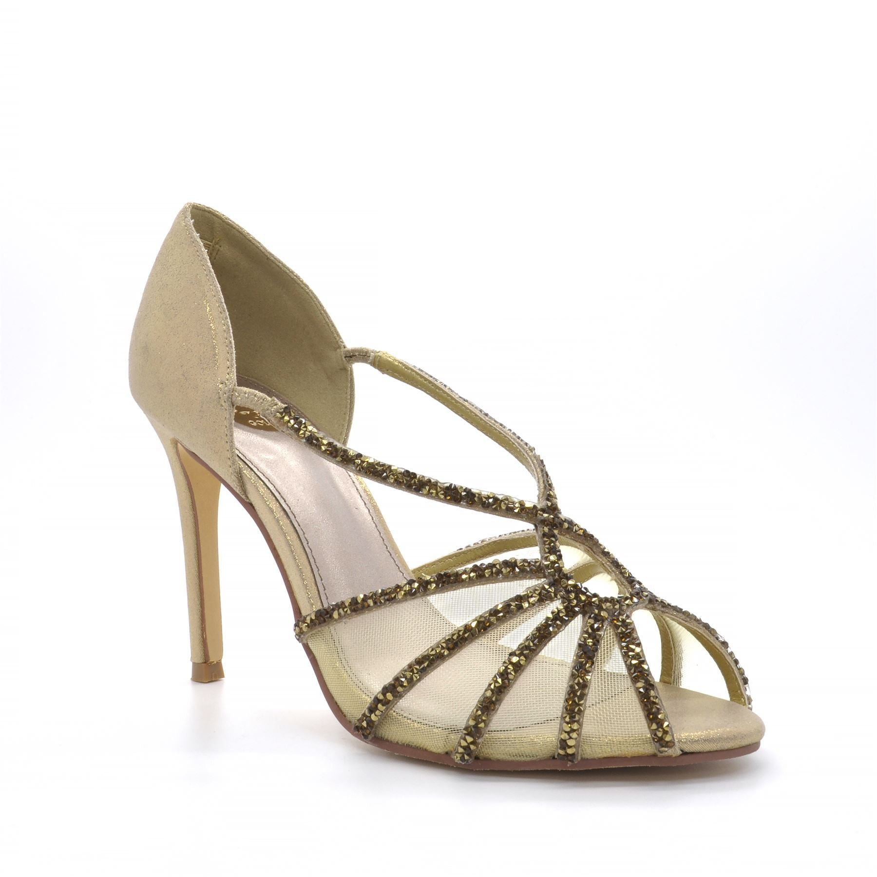 Gold Diamante Peep Toe High Heel