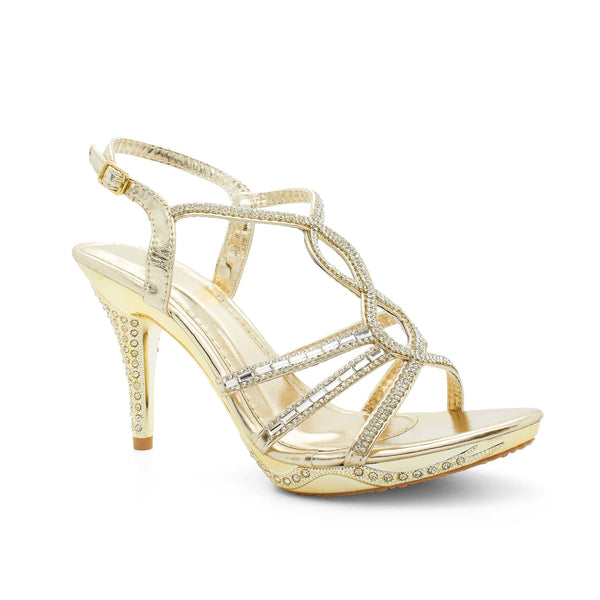 Metallic Gold Strappy Heeled Sandals