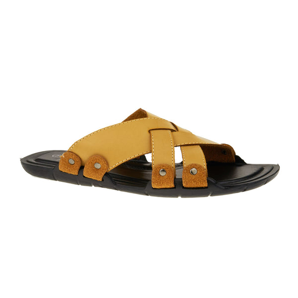 Camel Leather Look Cross Strap Sandals