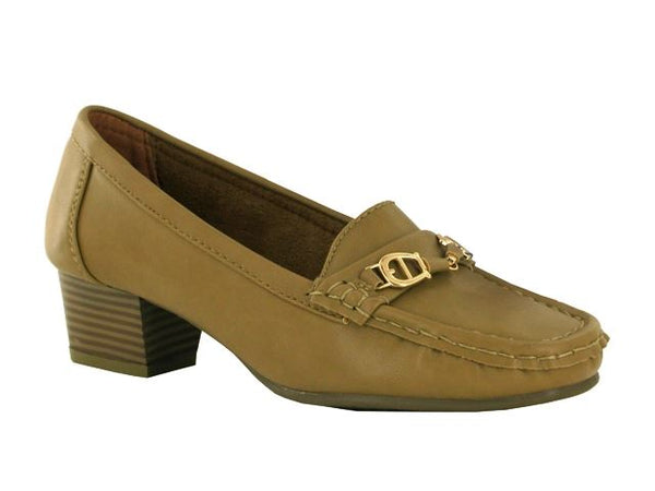 Khaki Buckle Block Heeled Loafers