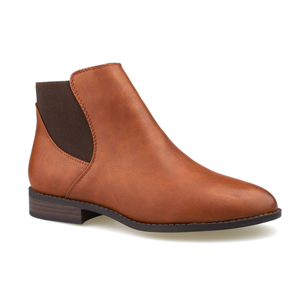Tan Faux Leather Chelsea Boots