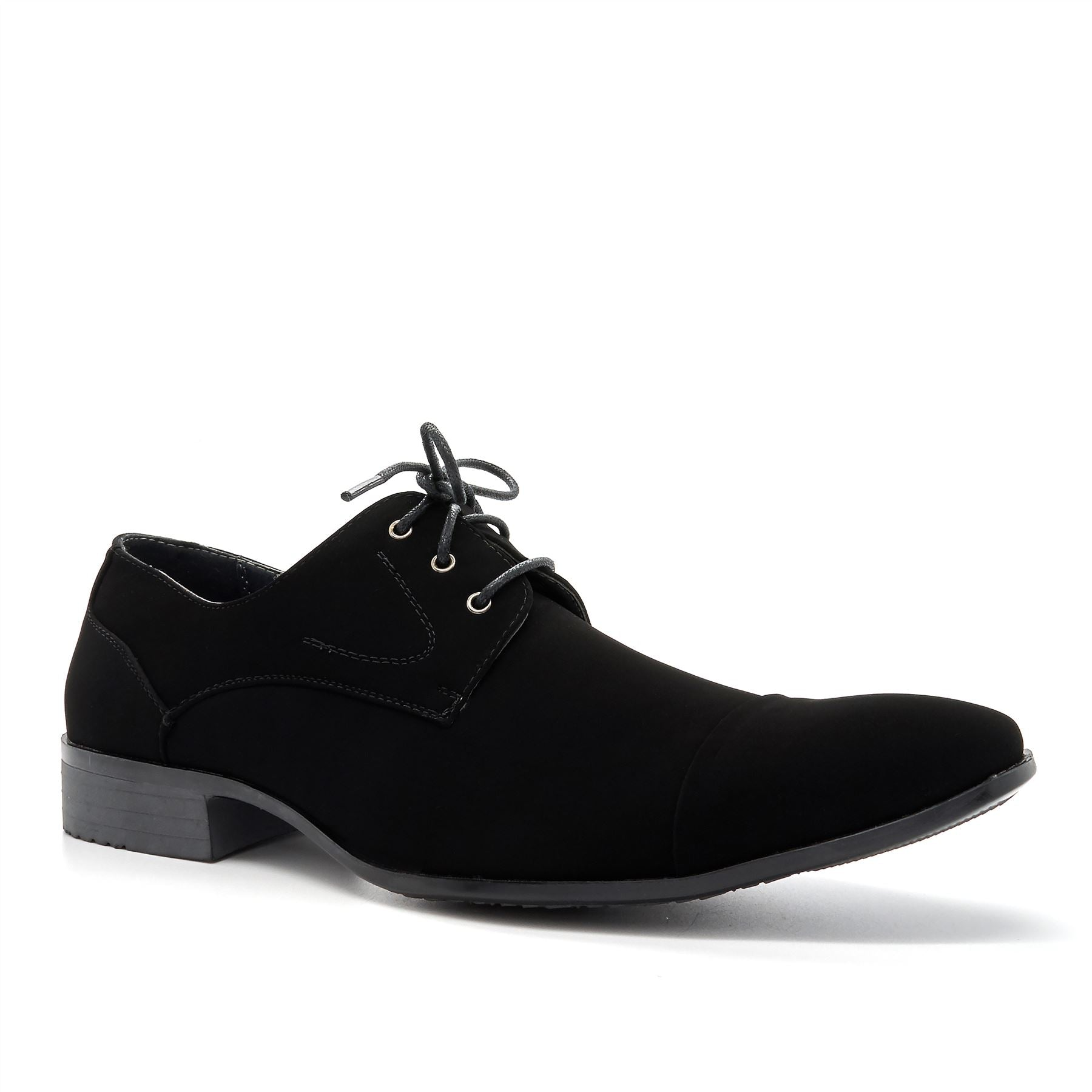 Black Suedette Lace Up Derby Shoes