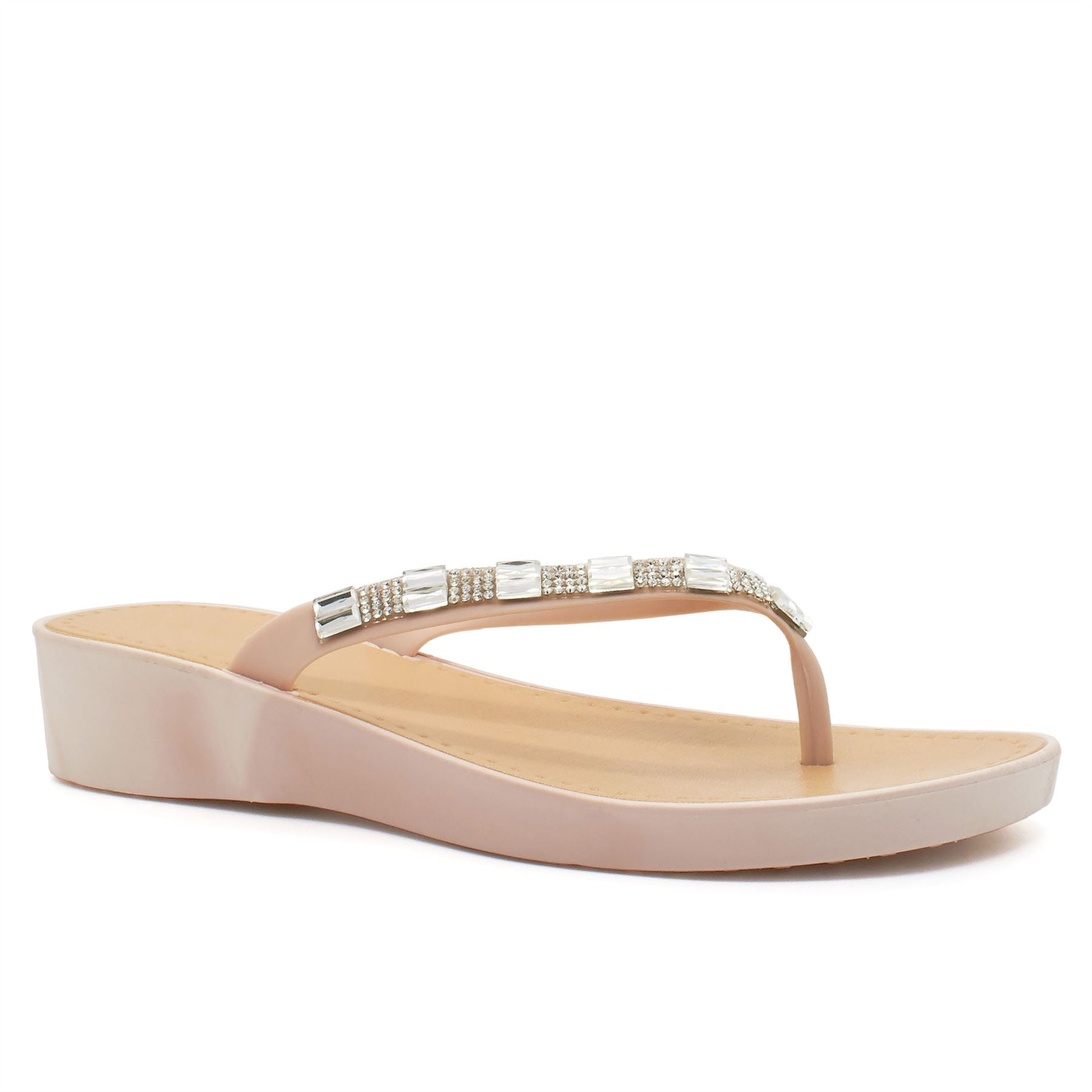 Nude Diamante Wedge Heeled Flip Flops