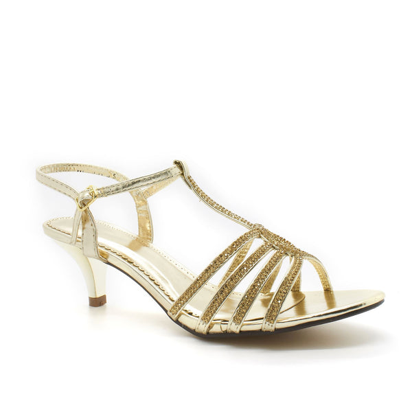 Gold Diamante Open Toe Low Heel
