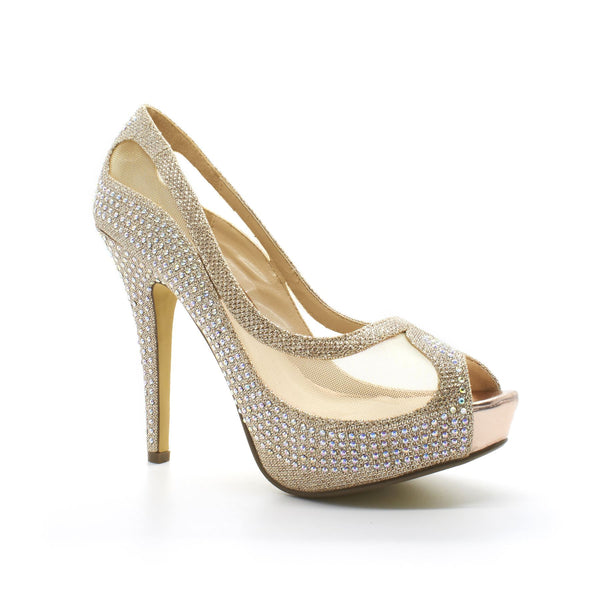 Champagne Diamante Mesh High Heel