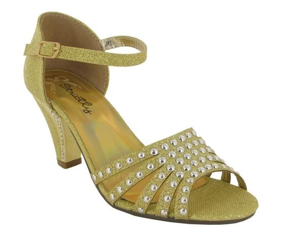 Gold Rivet Detail Block Heeled Sandals