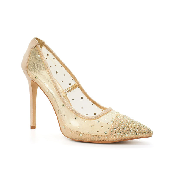 Beige Sheer Mesh Heeled Court Shoes