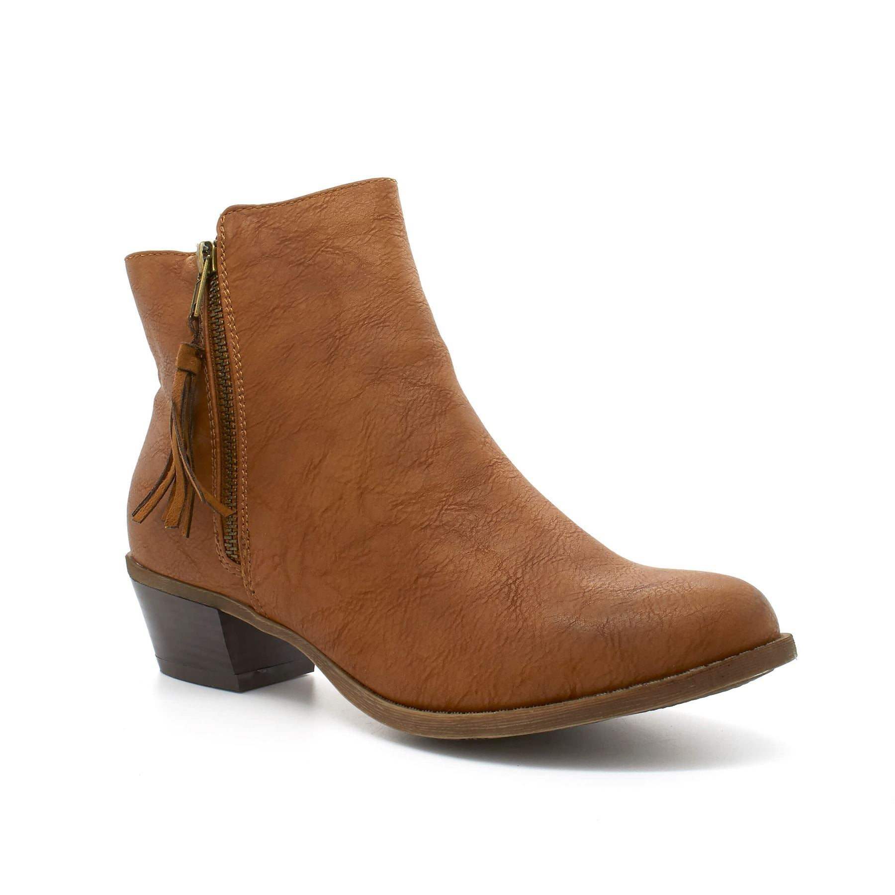 Camel Tassel Zip Block Heel Boot