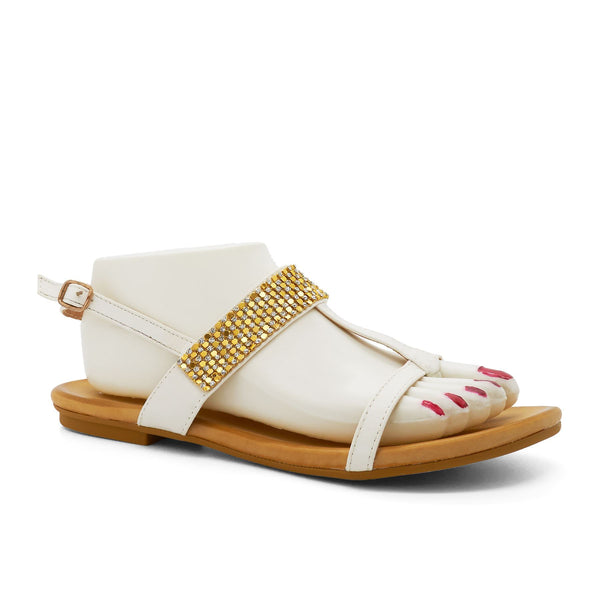 White Embellished T-Bar Flat Sandals