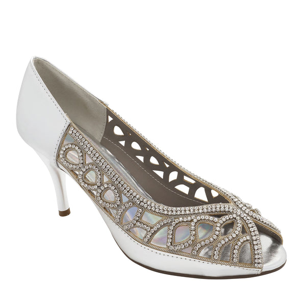 Silver Metallic Peep Toe Heeled Court Shoes