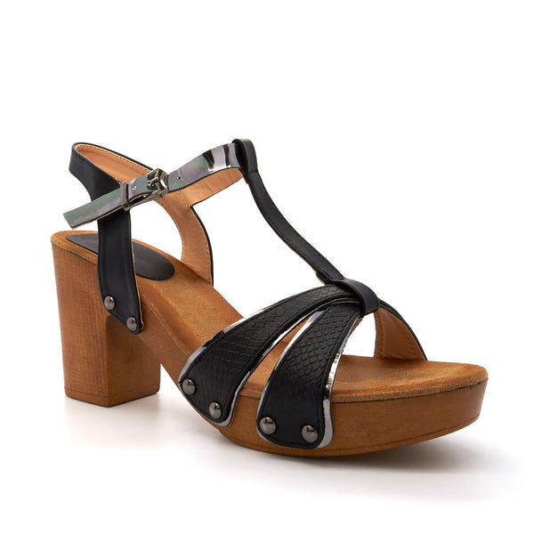 Black T-Bar Heeled Sandals