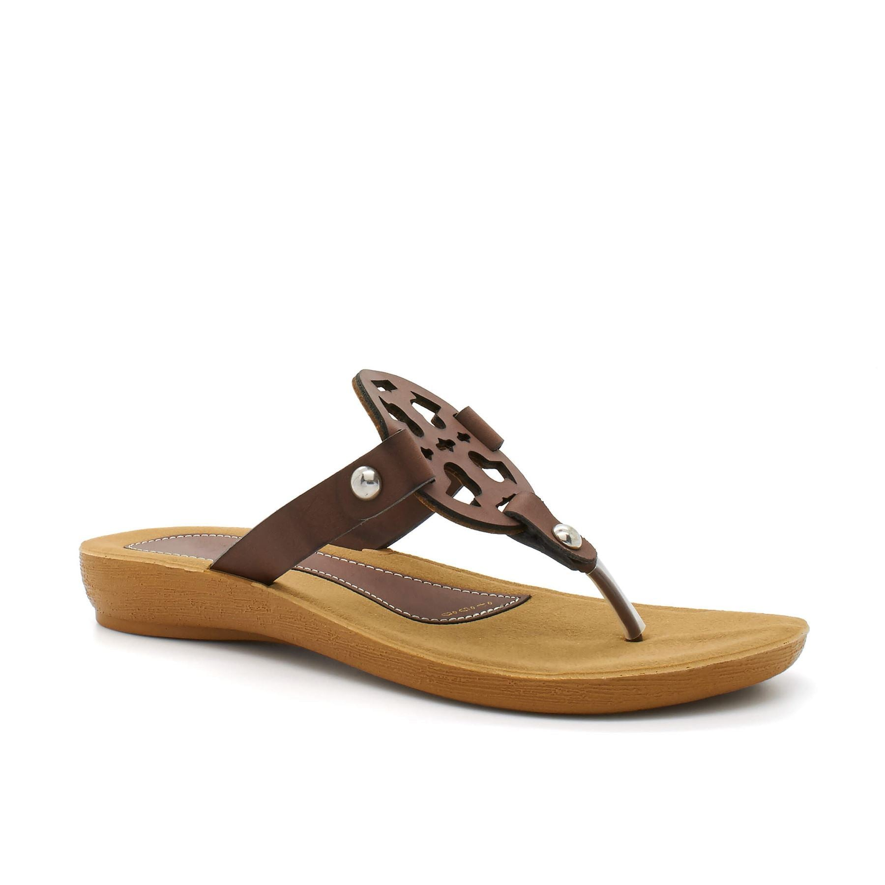 Brown Toe Post Low Wedge Sandal