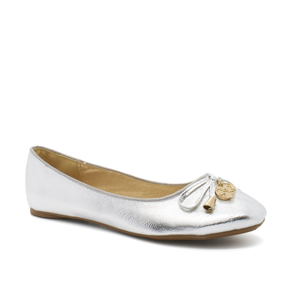 Silver Metallic Bow Slip On Pump