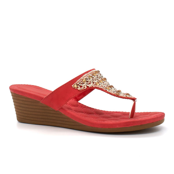 Coral Bead Embellished Wedge Sandals