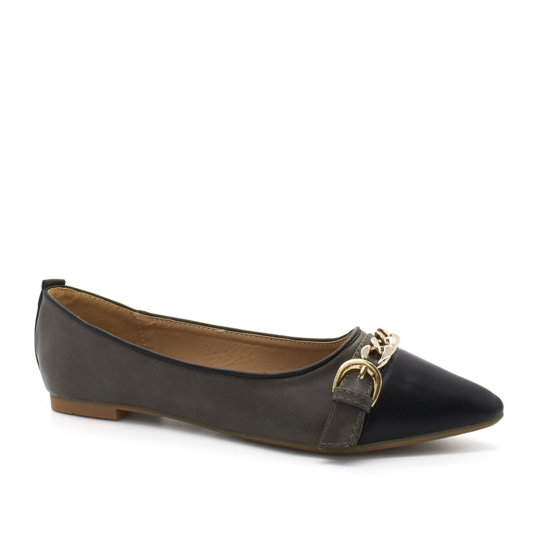 Grey Chain Point Toe Flat