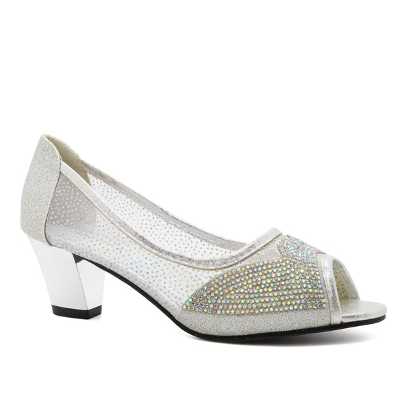 Silver Peep Toe Heeled Court Shoes