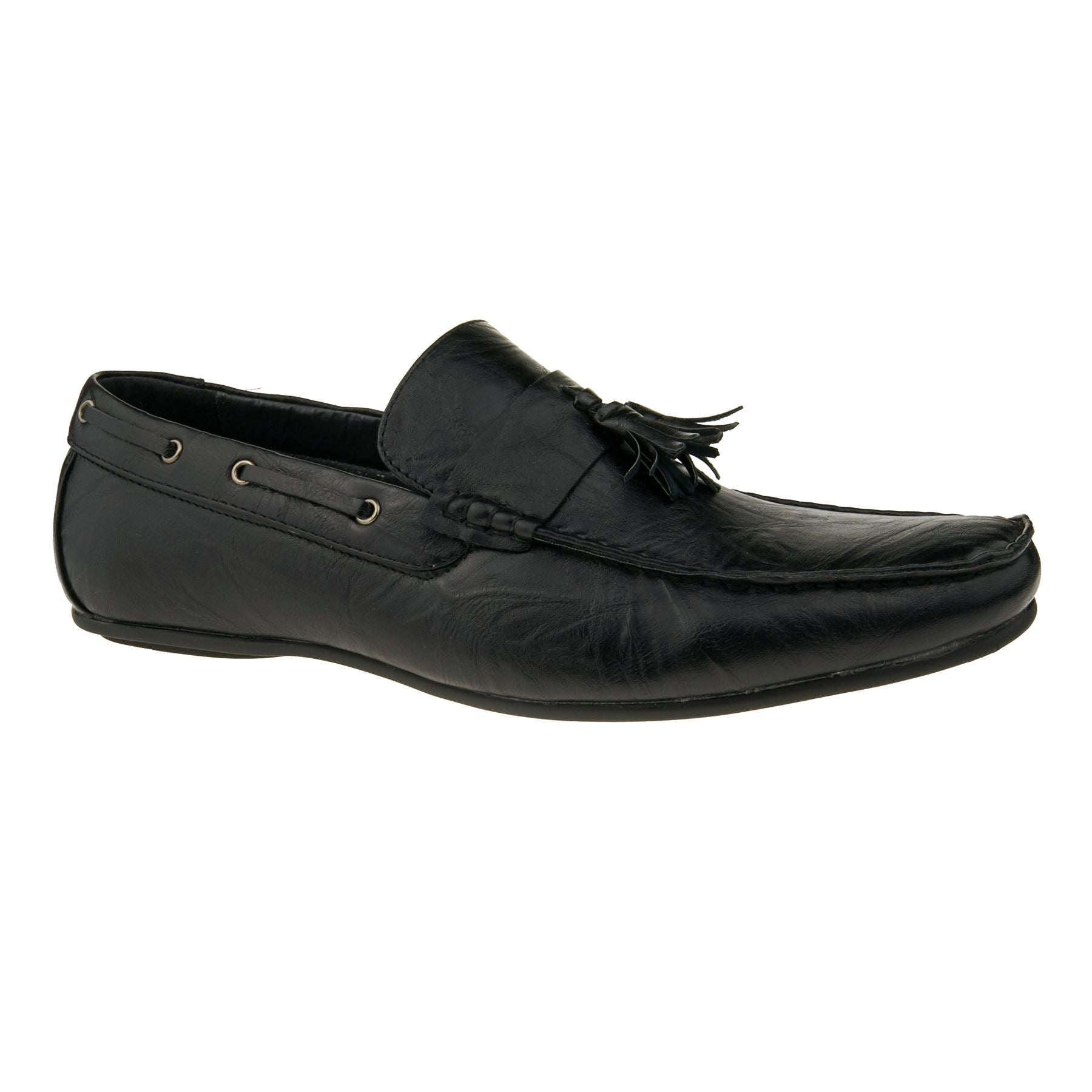 Black Faux Leather Tassel Loafers