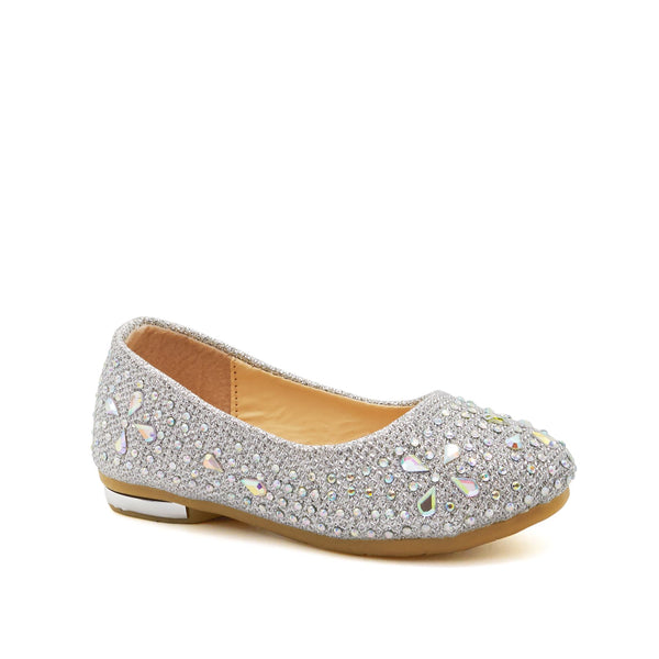 Silver Diamante Embellished Ballet Flats