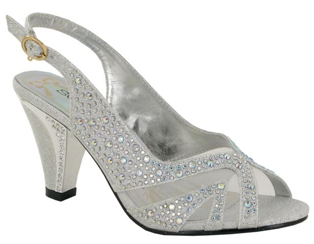 Silver Diamante Block Heeled Sandals