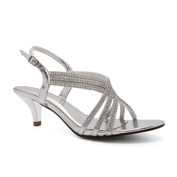 Silver Metallic Embellished Kitten Sandals