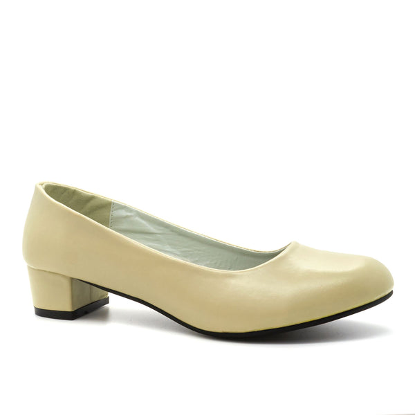 Beige Block Heeled Court Shoes