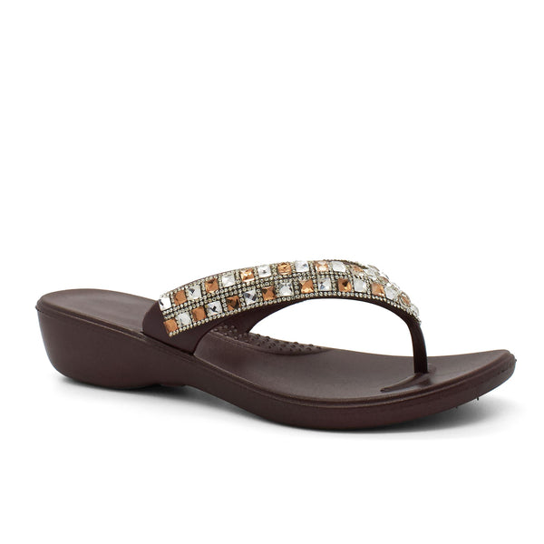 Brown Jewelled Wedge Flip Flops