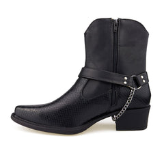 Black Chain Harness Western Boots