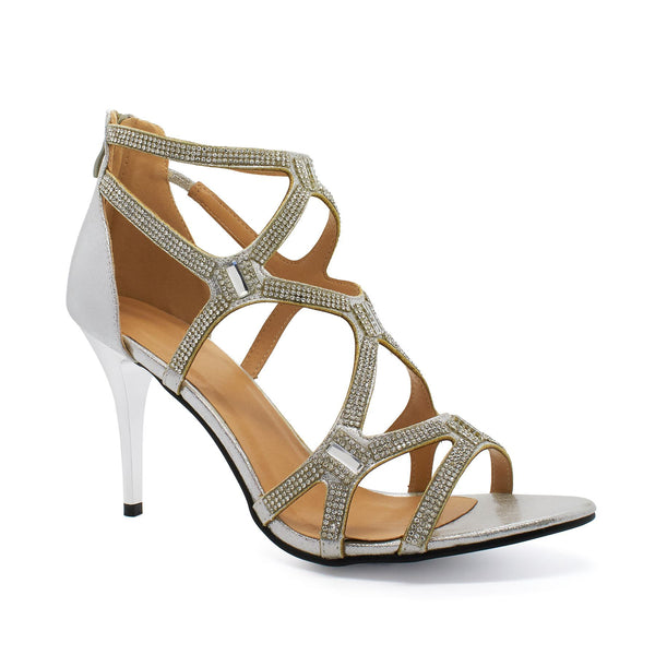 Silver Embellished Caged Heeled Sandals